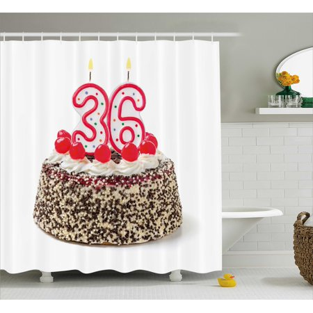36th Birthday Decorations Shower Curtain, Happy Birthday Party Theme Cake with Candles and Sprinkles Print, Fabric Bathroom Set with Hooks, 69W X 70L Inches, Multicolor, by Ambesonne (Sprinkles Birthday Party)