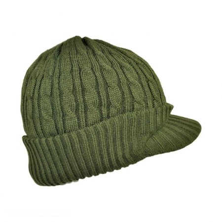 Cable Knit Visor Beanie Hat - ONE SIZE FITS MOST - Olive Green