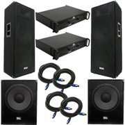 """Seismic Audio Premium Dual 15"""" PA Speakers, 18"""" Enforcer Subs, 2 Amplifiers, and Cable Package - FL-155PPKG2"""