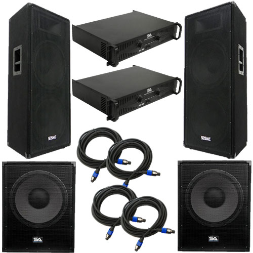 "Seismic Audio Premium Dual 15"" PA Speakers, 18"" Enforcer Subs, 2 Amplifiers, and Cable Package - FL-155PPKG2"