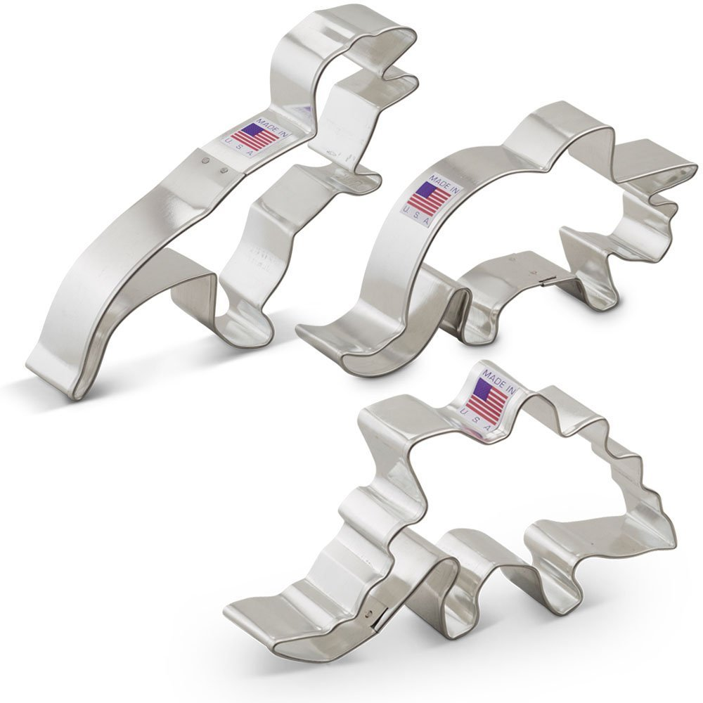 Dinosaur Cookie Cutter Set - 3 Piece - T-Rex, Triceratops, and Stegosaurus
