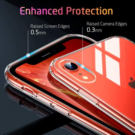 Mimic Series Glass Case for iPhone XR, by ESR 9H Tempered Glass Back Cover Scratch Resistant, Soft Silicone Bumper Shock Absorption , Clear/Red Blue Crystal - image 9 de 9