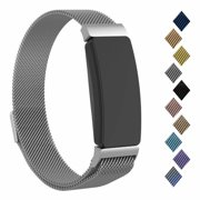 POY Compatible with Fitbit Inspire Hr Bands, Stainless Steel Replacement for Fitbit Inspire and Ace 2 Metal Loop Bracelet Sweetproof Wristbands for Women Men