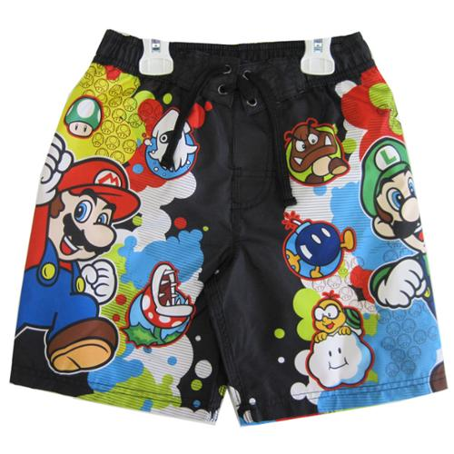 Little Boys Black Sky Blue Character Swim Wear Shorts 6
