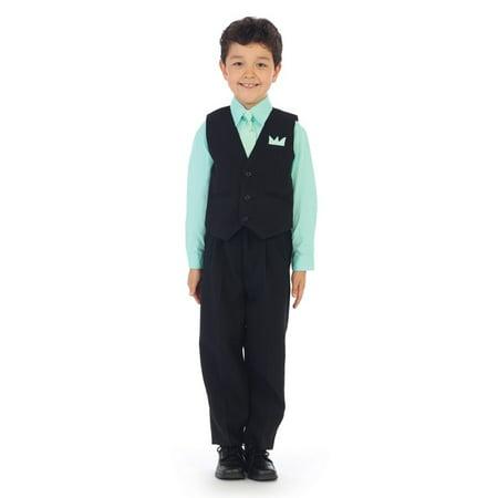 Angels Garment Little Boys Pastel Lime Shirt Pin Stripe Vest 4 Pc Pants - 40s Outfits