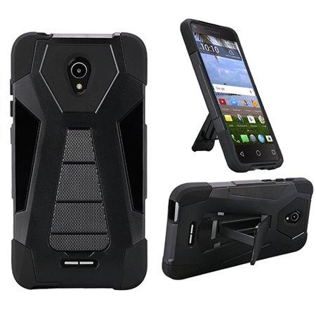Xcite Fitted Case (For Alcatel Raven LTE, Alcatel Verso, Alcatel Cameo X, Alcatel Ideal Xcite, Hybrid Cover Case with kickstand + Tempered Glass Screen Protector (Black) )