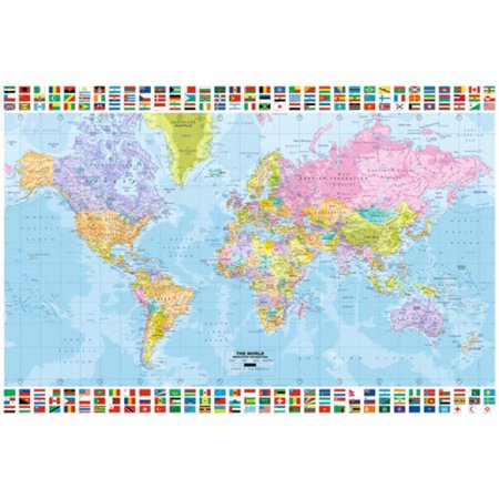 World Map With Flags Educational Reference Poster 36X24