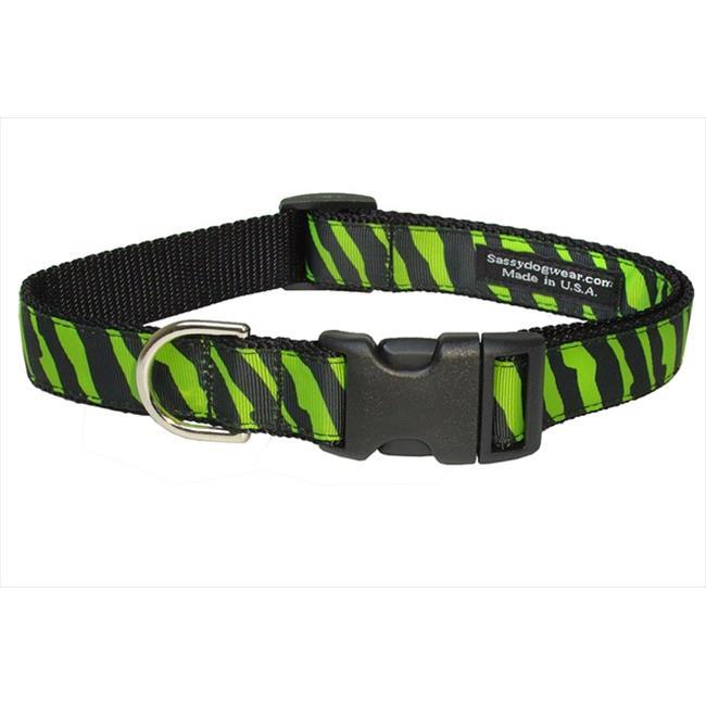 Sassy Dog Wear ZEBRA-GREEN-BLK.2-C Zebra Dog Collar, Green & Black - Small