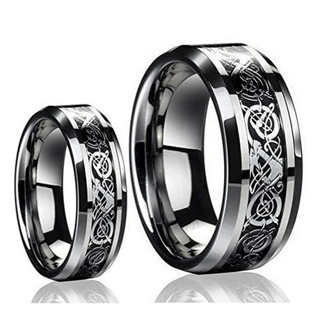 His & Her's 8MM/6MM Tungsten Carbide Celtic Knot Dragon Design Carbon Fiber Inlay Wedding Band Ring -
