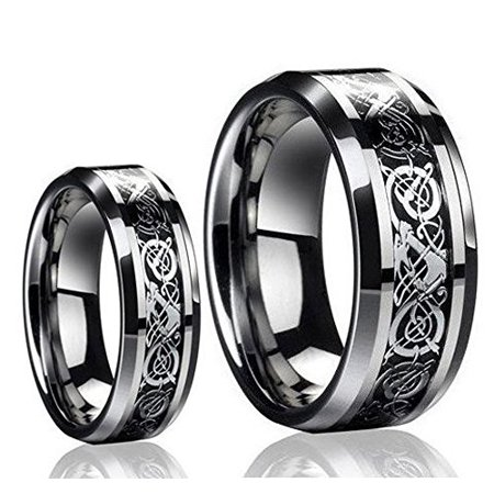 Diamond Set Celtic Ring - His & Her's 8MM/6MM Tungsten Carbide Celtic Knot Dragon Design Carbon Fiber Inlay Wedding Band Ring Set
