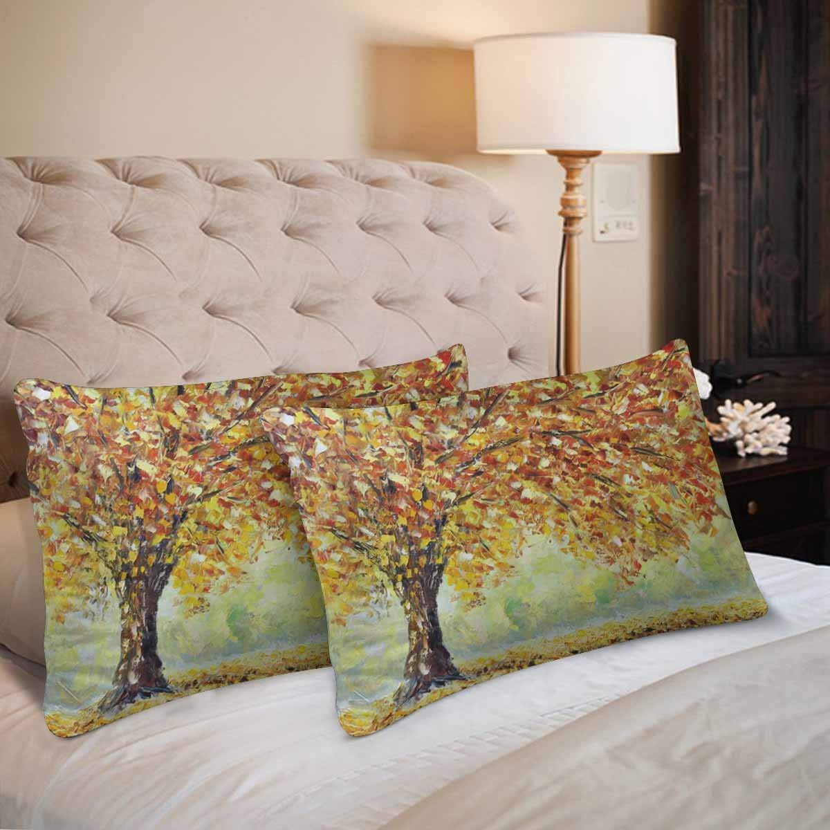 GCKG Lonely Autumn Tree Fallen Leaves Clouds Pillow Cases Pillowcase 20x30 inches Set of 2 - image 2 de 4