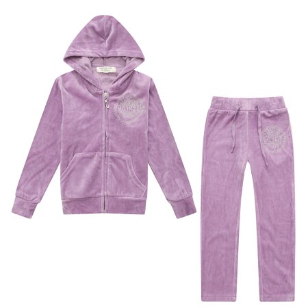 Richie House Girls' Velvet Sports Two-piece Set with Hot Drilling RH1915-A-3/4