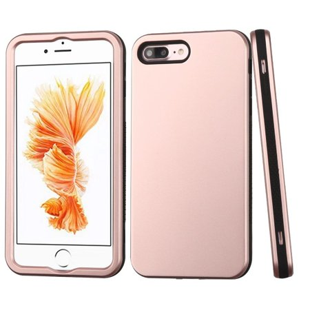 Iphone 8 Plus Case  Iphone 7 Plus Case  By Insten Verge Dual Layer  Shock Absorbing  Hybrid Rubber Coated Hard Plastic Soft Silicone Case Cover For Apple Iphone 8 Plus   Iphone 7 Plus  Rose Gold Black