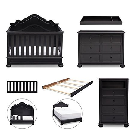 Simmons Kids Peyton 6 Piece Nursery Furniture Set Convertible Crib Dresser Chest