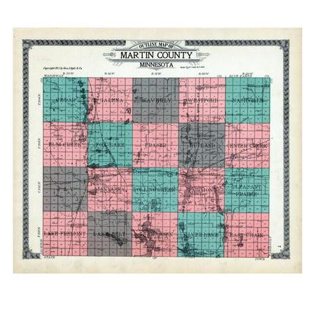 1911, Martin County Outline Map, Minnesota, United States Print Wall Art (Halloween Martin County)
