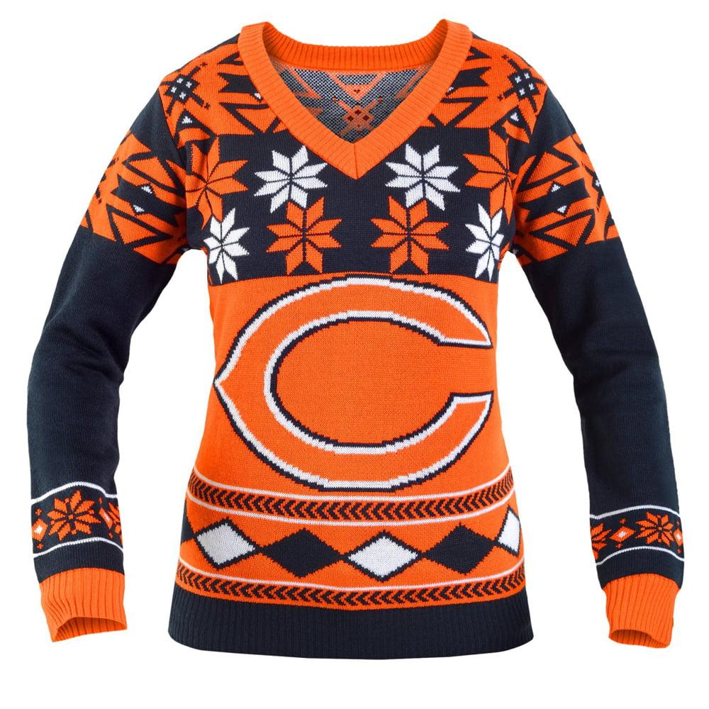 Chicago Bears Nfl Womens Big Logo V Neck Ugly Christmas Sweater Small