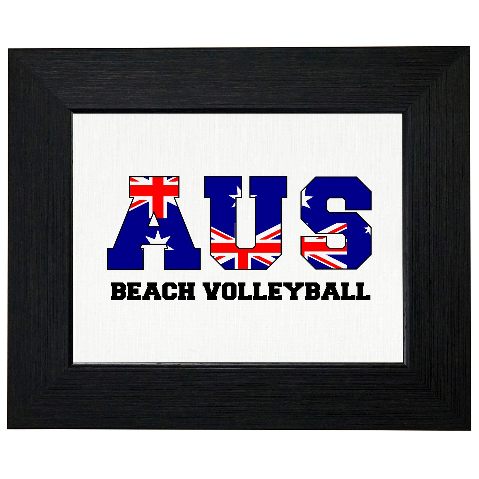 Australia Beach Volleyball Olympic Games Rio Flag Framed Print Poster Wall or Desk Mount Options by Royal Prints