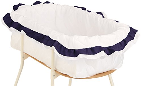 "Click here to buy bkb Double Ruffle Bassinet Bumper, Navy, 16"" x 32"" by bkb."