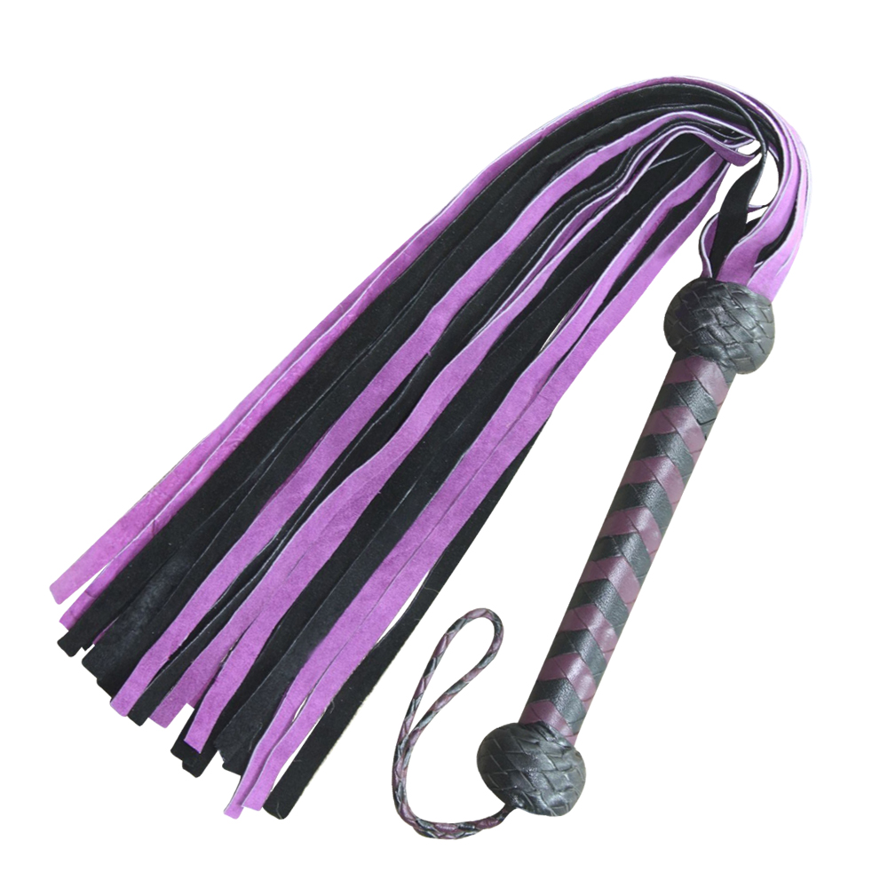 Genuine Suede Leather Flogger Purple & Black Leather whip 25 Tails