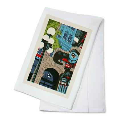 Pioneer Square Halloween (Seattle, Washington - Pioneer Square -  Woodblock - Lantern Press Artwork (100% Cotton Kitchen)