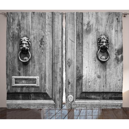 - Rustic Curtains 2 Panels Set, Black and White Photography of Tuscany House Doorway Florence with Lion Head Handlers, Window Drapes for Living Room Bedroom, 108W X 90L Inches, Grey, by Ambesonne