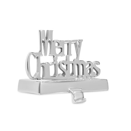 BIRDROCK HOME Merry Christmas Stocking Holder - Holiday Greetings Mantle Fireplace Topper - Decorative Christmas Stocking Holder - Stainless Steel ()