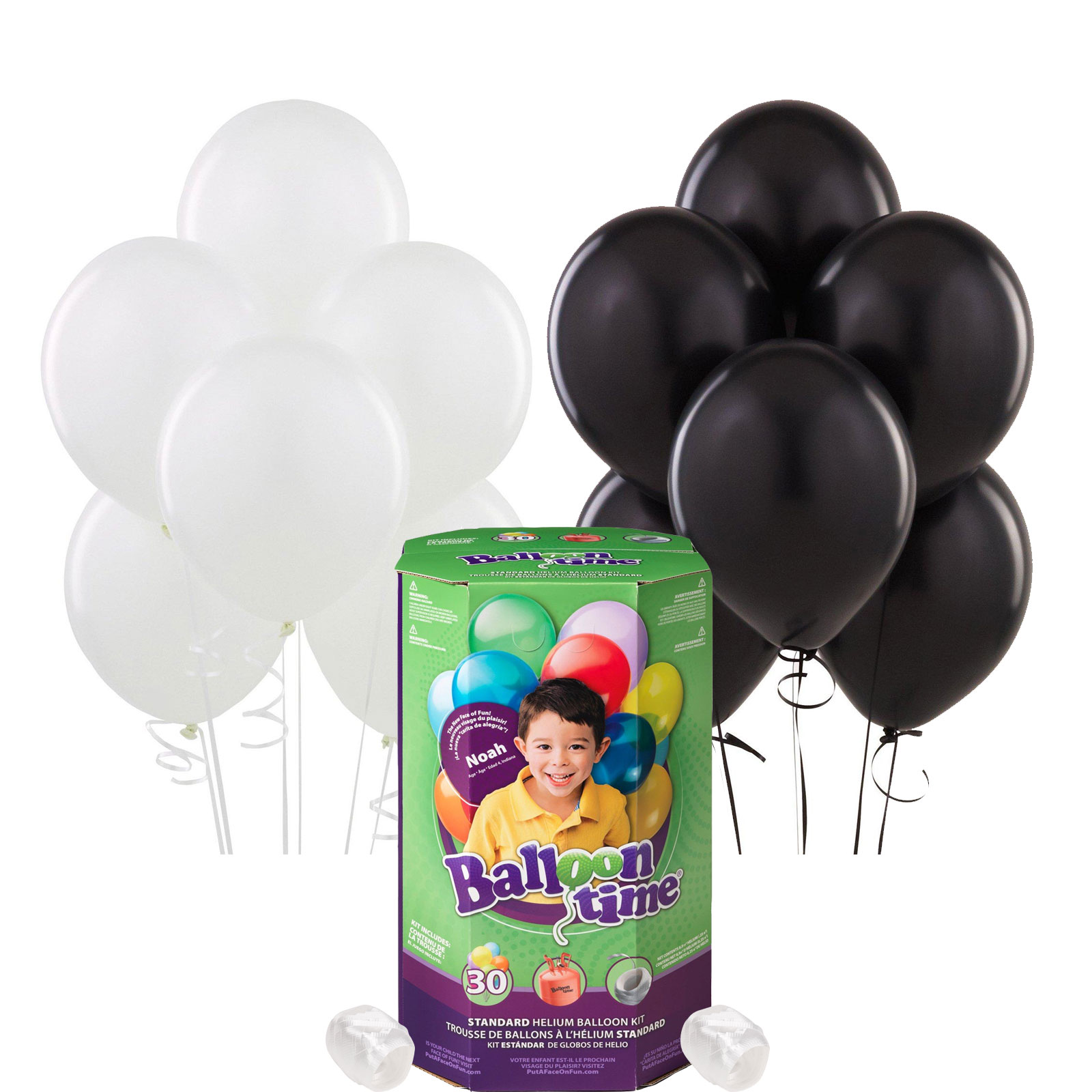 Helium Tank with Black and White Balloons