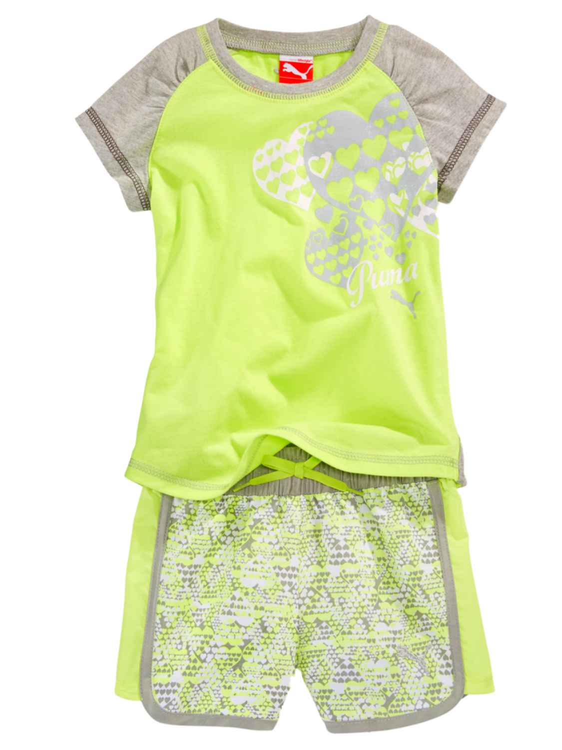 Puma Infant Girls Yellow Green Heart Print T-Shirt & Shorts Set Athletic Outfit