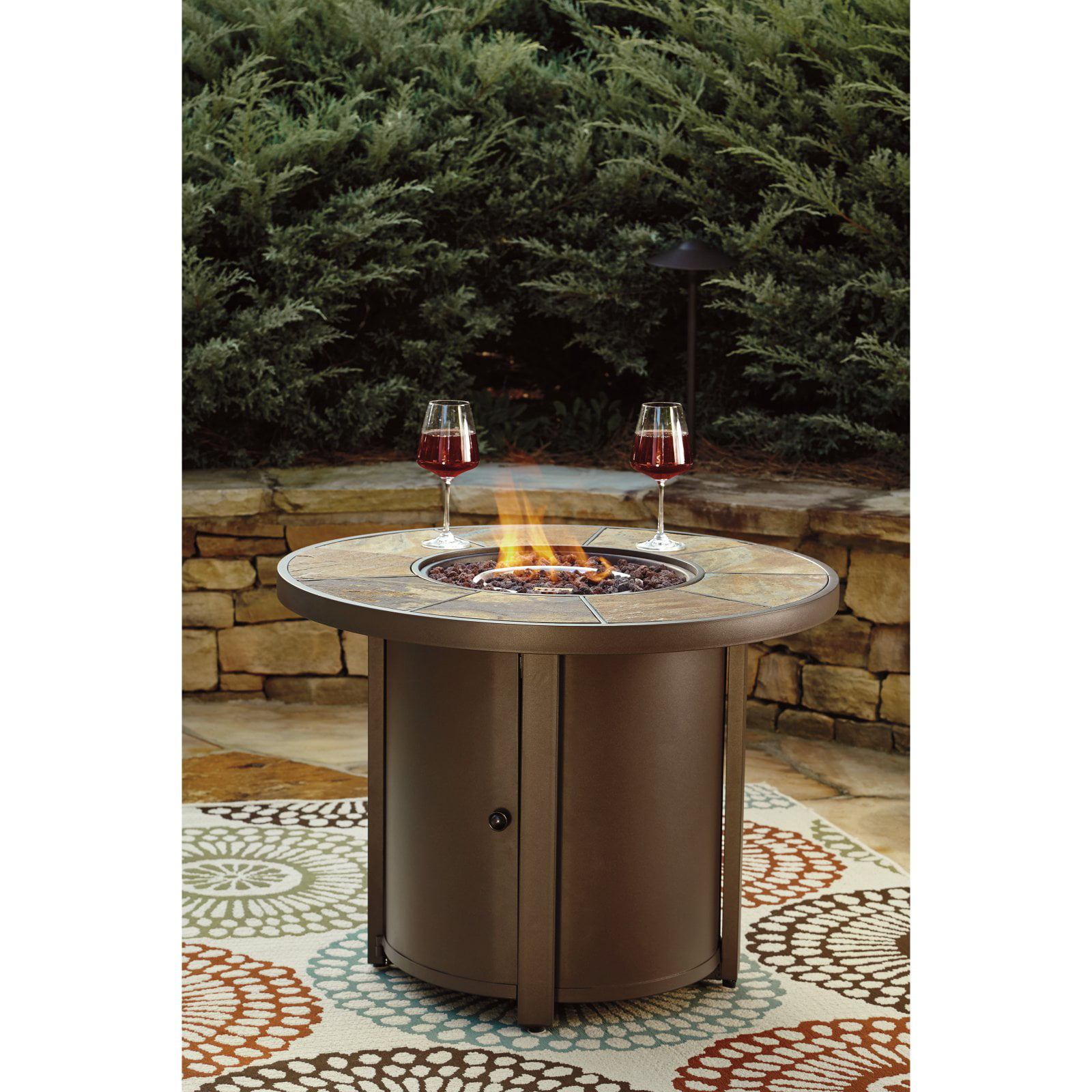 Signature Design by Ashley Predmore Propane Gas Round Patio Firepit Table by Ashley Furniture