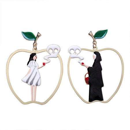 518407aae Tbest - Tbest Snow White and Black Queen Asymmetric Stud Earrings ...