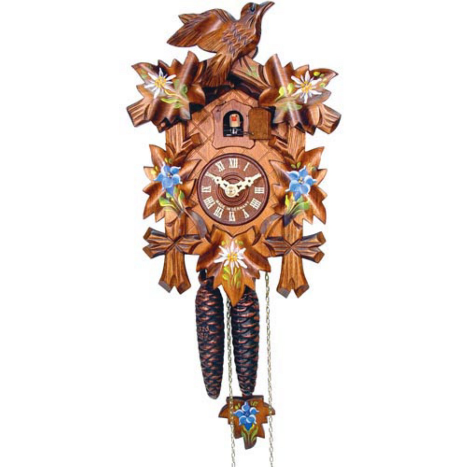9 In. 5 Leaf with Blue Flowers and Edelweiss Cuckoo Clock by Alexander Taron