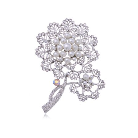 Designer Flowers Brooch - Silver Tone Faux Pearl Rhinestone Two Dandelion Flowers Fashion Pin Brooch