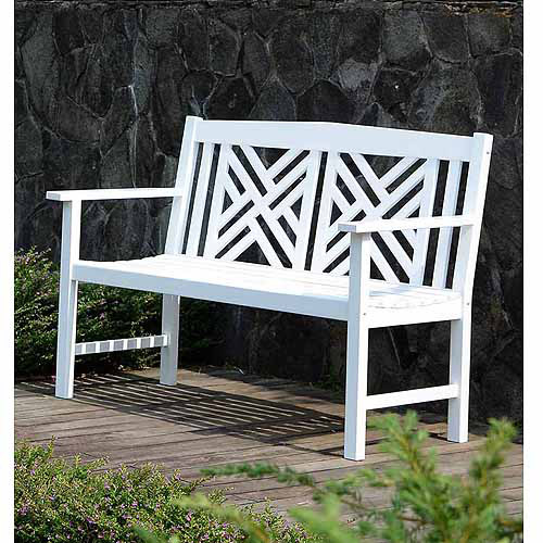4' Lattice Bench, White by Import-Tectona
