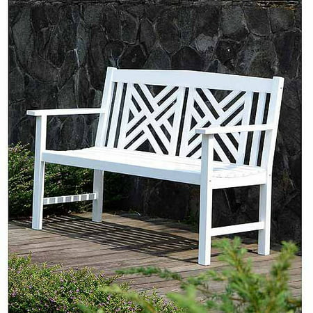 Wooden Bench (4' Lattice Bench, White )