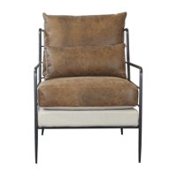 Leather & Fabric Metal Framed Chair in Cognac Brown