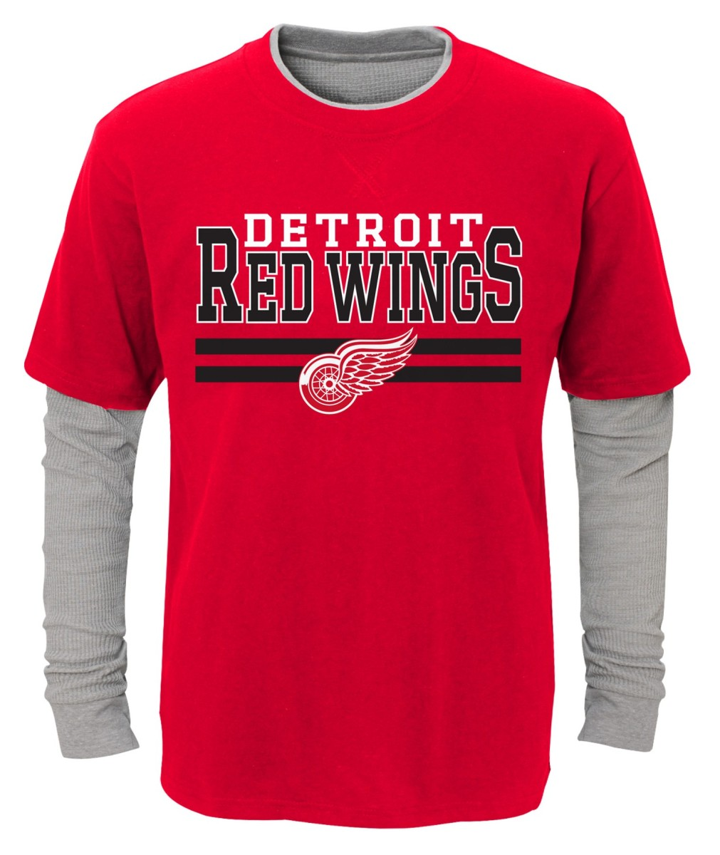 "Detroit Red Wings Youth NHL ""Defensive Pair"" L S Faux Layer Thermal Shirt by Outerstuff"