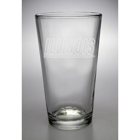 (Illinois Fighting Illini Deep Etched Pub Pint Glass)