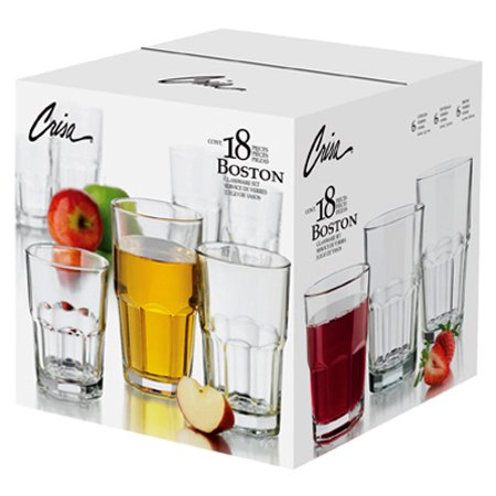 Libbey Glass 1783099 Boston Beverage Glassware Set, 18-Pc.
