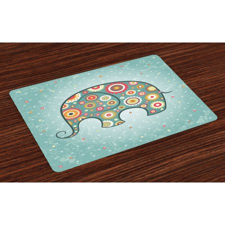 Floral Placemats Set of 4 Elephant with Flowers Featured Grunge Heart Backdrop Cute Animal Graphic Art, Washable Fabric Place Mats for Dining Room Kitchen Table Decor,Teal Baby Blue Red, by Ambesonne