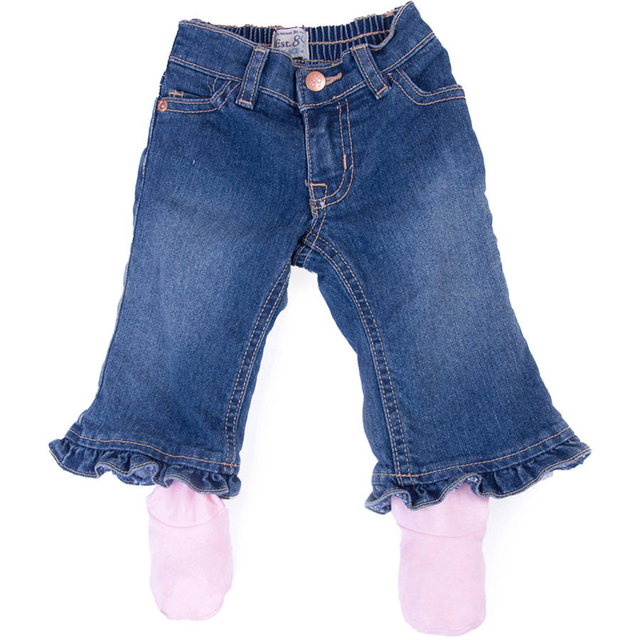 Otium Brands Cozee Newborn Baby Girl Jeans with Footed Inner Cotton Layer