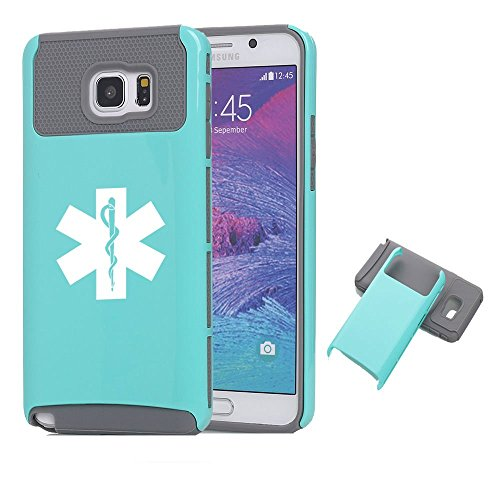 Samsung Galaxy Note 5 Shockproof Impact Hard Case Cover Star of Life EMT (Teal-Grey),MIP
