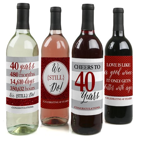 We Still Do - 40th Wedding Anniversary Wine Bottle Labels - Set of