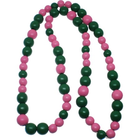 Greek Wood Color Bead Tiki Necklace [Pink/Green - 18