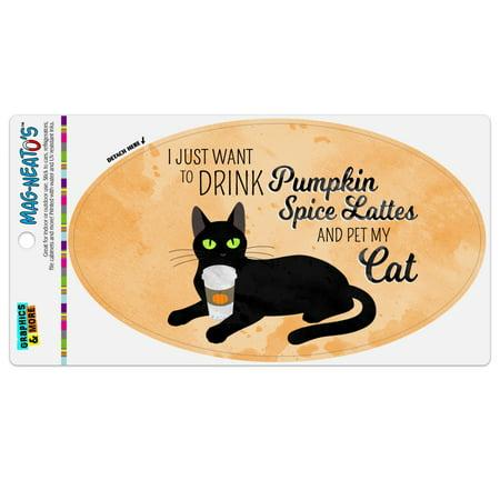I Just Want to Drink Pumpkin Spice Lattes and Pet My Cat Automotive Car Refrigerator Locker Vinyl Euro Oval Magnet](Halloween Latte Drinks)