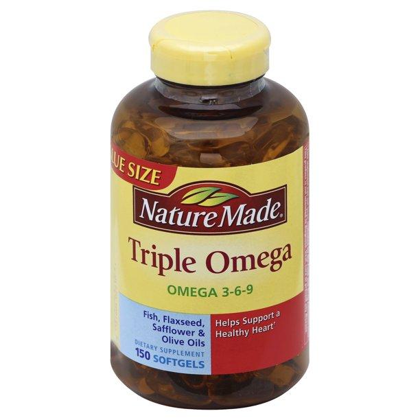 Nature Made Triple Omega Softgels Value Size Bottle 150 0 Ct