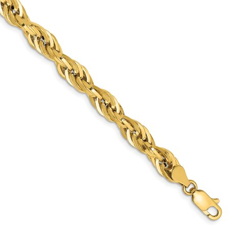 Roy Rose Jewelry 14K Yellow Gold 5.4mm Hollow Rope Chain ~ length: 8 inches