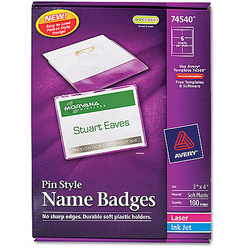 Avery Pin Style Name Badge Holders 74540 w/Laser/Inkjet Inserts, Top Loading, 3 x 4, White, 100/Box
