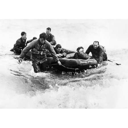 World War Ii D-Day 1944 Namerican Soldiers Land On The Beach At Normandy By  Life Raft After Their Landing Craft Had Been Sunk By German Shelling 6