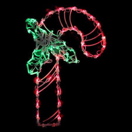 Northlight 18 in. Lighted Candy Cane with Holly Window Silhouette Decoration ()