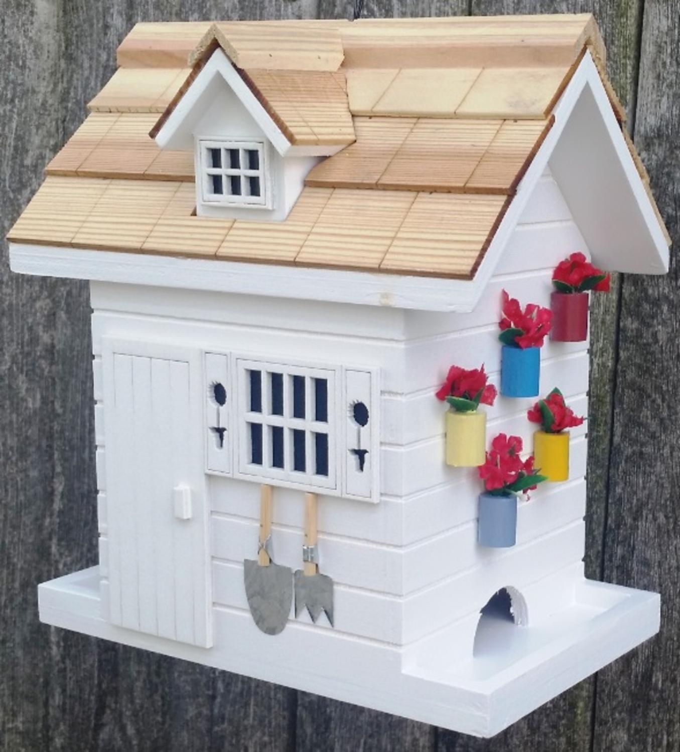 "8"" Fully Functional White Wood Flower Shed Outdoor Garden Birdhouse by Bird Houses"